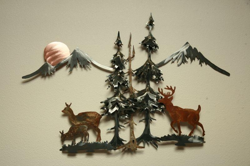 Buck Doe Deer Fawn Mountains Pine Tree Trees Sun Steel Wall Regarding Pine Tree Wall Art (Image 7 of 20)