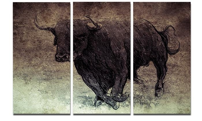 Bull Running On Vintage Paper – Animal Digital Art Metal Wall Art Intended For Groupon Wall Art (Image 7 of 20)