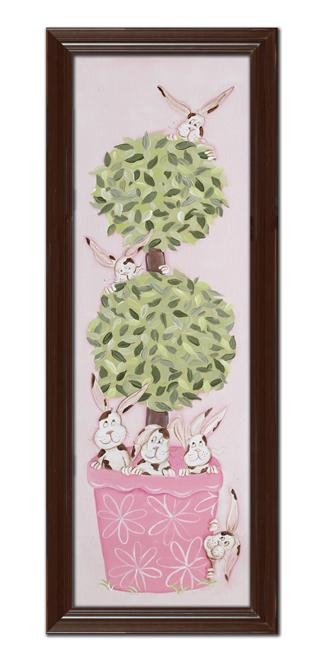 Bunny Topiary Wall Art – Brown Frame With Regard To Topiary Wall Art (View 9 of 20)