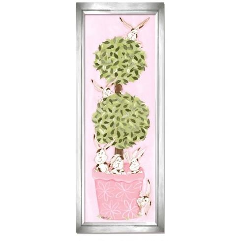 Bunny Topiary Wall Art – Pink Frame Within Topiary Wall Art (View 5 of 20)