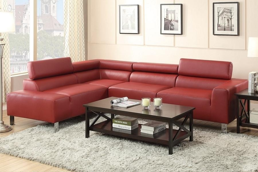 Burgundy Bonded Leather Modern Sofa Sectional W/ Chrome Legs With Regard To Burgundy Sectional Sofas (Image 2 of 20)