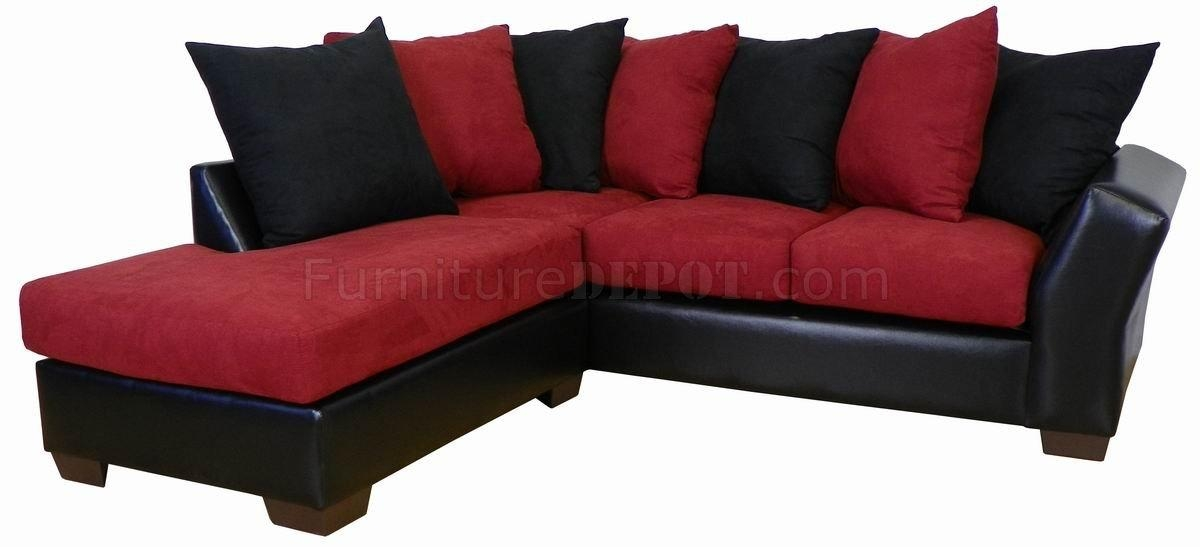 Burgundy Fabric & Black Bicast Modern Sectional Sofa Pertaining To Burgundy Sectional Sofas (View 6 of 20)