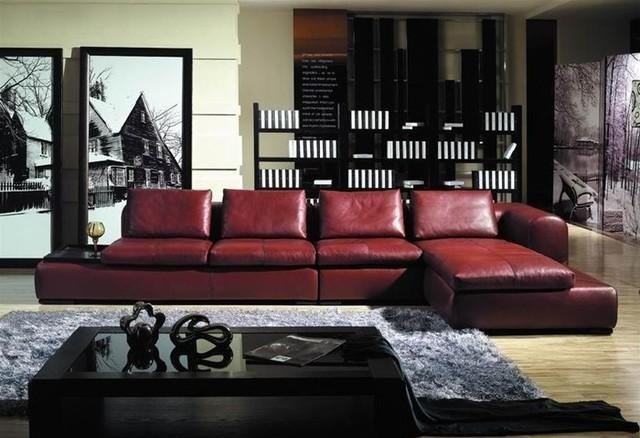 Burgundy Red Living Room Sectionals – Carameloffers With Regard To Burgundy Sectional Sofas (Image 7 of 20)