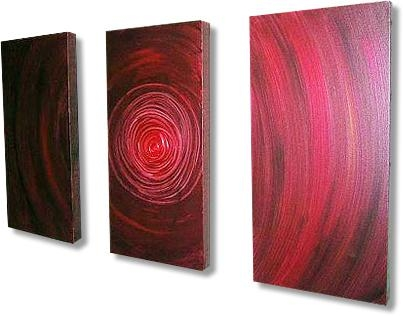 Burgundy Red, White And Black Abstract Canvas Art (Image 9 of 20)