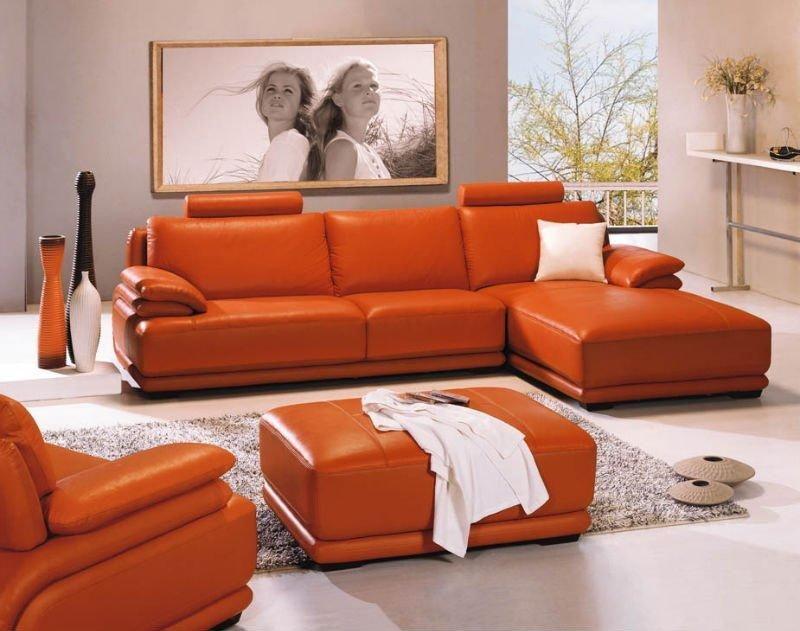 Burnt Orange Leather Sofa Set Similar To Extraordinary Orange Sofa With Regard To Burnt Orange Leather Sofas (View 10 of 20)