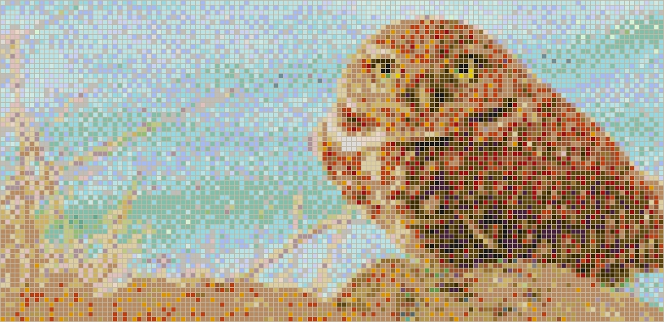 Burrowing Owl – Framed Mosaic Wall Art Inside Pixel Mosaic Wall Art (View 12 of 20)