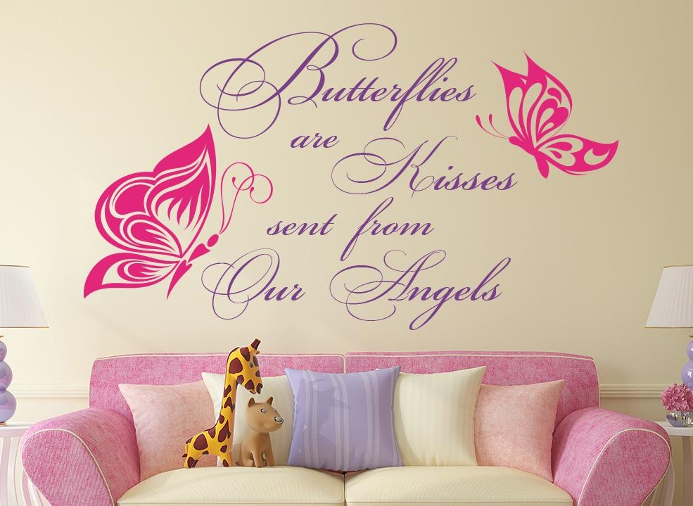 Butterflies Are Kisses Quote Wall Art Sticker Throughout Butterflies Wall Art Stickers (Image 11 of 20)