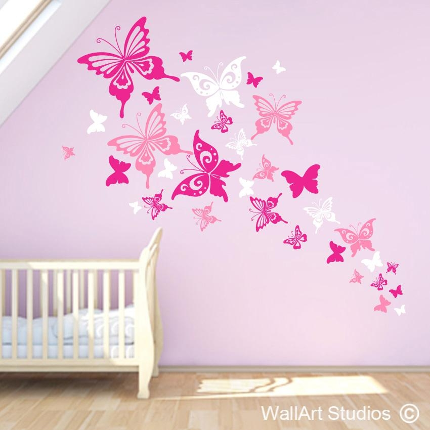 Butterflies Wall Art Stickers | Wall Art Design | Wallart Studios Pertaining To Pink Butterfly Wall Art (Image 14 of 20)