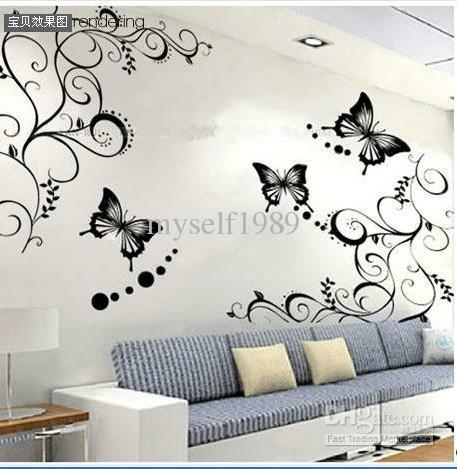Butterfly Vine Flower Wall Art Mural Stickers Decals Wall Paster Regarding Butterflies Wall Art Stickers (Image 13 of 20)