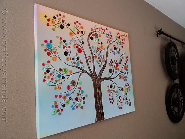 Button Tree: A Beautiful Canvas Project Full Of Vibrant Colors Throughout Vibrant Wall Art (View 14 of 20)