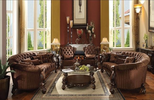 Button Tufted Brown Velvet Sofa And Chair Set In Cherry Oak Throughout Brown Velvet Sofas (Image 10 of 20)