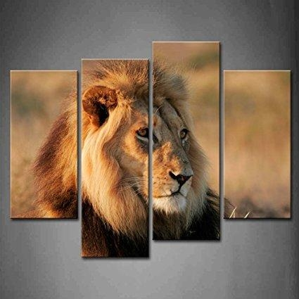 Buy 4 Panel Wall Art Big Male African Lion Sit At Mud Painting For With Regard To Lion Wall Art (Image 6 of 20)