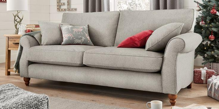 Buy Ashford Large Sofa (3 Seats) Cosy Twill Light Grey Low Turned Throughout Ashford Sofas (View 5 of 20)