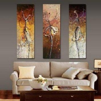 Buy Ballet Dancer Painting 3 Piece Wall Art 100% Hand Painted Oil Intended For 3 Piece Wall Art (Image 13 of 20)
