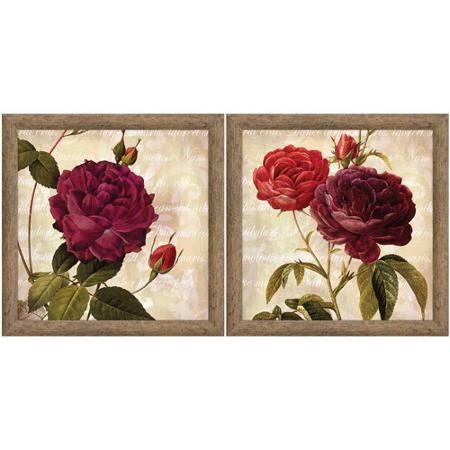 Buy Burgundy And Gold Floral Wall Art, Set Of 2 In Cheap Price On With Burgundy Wall Art (Image 13 of 20)