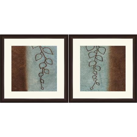 Buy Framed Graphic Blue And Brown Leaves Wall Art 18 X 18 Set Of 2 Within Brown Framed Wall Art (View 2 of 20)