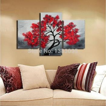 Buy Hand Painted 3 Piece Canvas Wall Art Red Tree Oil Painting In Three Piece Wall Art Sets (Image 10 of 20)