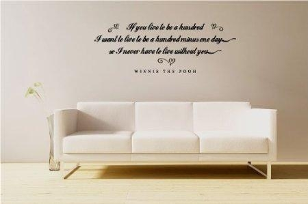 Buy If You Live To Be A Hundred – Winnie The Pooh Quote – Vinyl Regarding Winnie The Pooh Vinyl Wall Art (View 15 of 20)