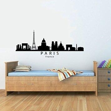 Buy Paris France City Skyline Vinyl Wall Decals Quotes Sayings Regarding Paris Vinyl Wall Art (Image 6 of 20)