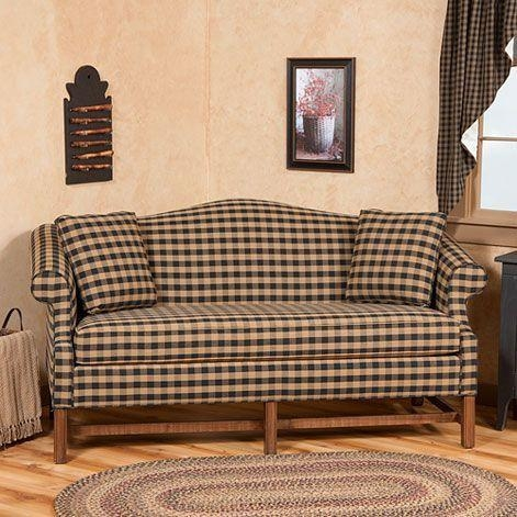 Camelback Sofa In Buffalo Check Fabric | Primitive Upholstered Throughout Buffalo Check Sofas (View 6 of 20)