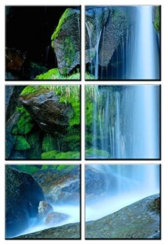 Canvas Art Prints, Framed Huge Canvas Print 6 Panel Waterfall With Waterfall Wall Art (Image 7 of 20)