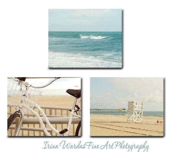 Canvas Nautical Wall Art | Ocean Waves | Beach Bike | Lifeguard Booth Regarding Coastal Wall Art Canvas (Image 14 of 20)