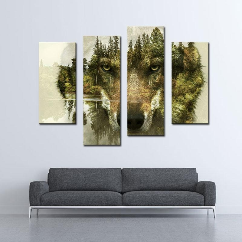Canvas Painting Art Wolf Painting Wall Art The Picture For Home In 4 Piece Wall Art (Image 11 of 20)