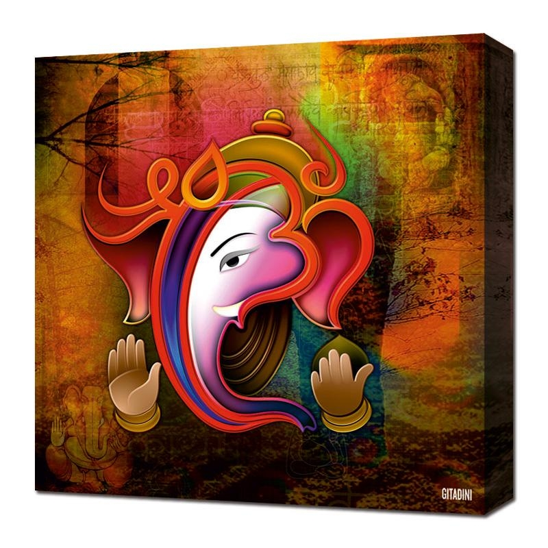 Canvas Wall Art – Ganesh Collage | Pertaining To Ganesh Wall Art (View 1 of 20)