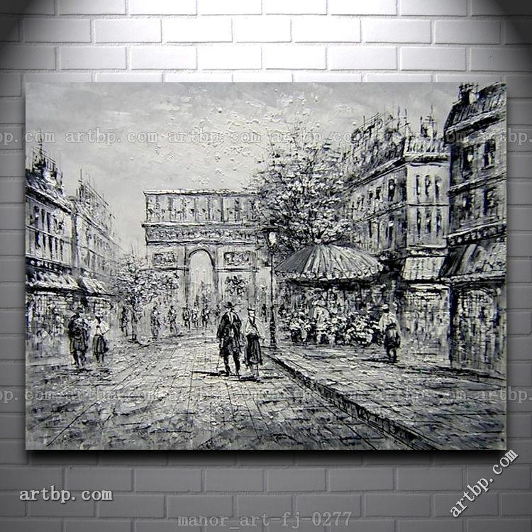 Canvas Wall Art Oil Painting Modern Decor Paris Arc De Triomphe Pertaining To Black And White Paris Wall Art (View 18 of 20)