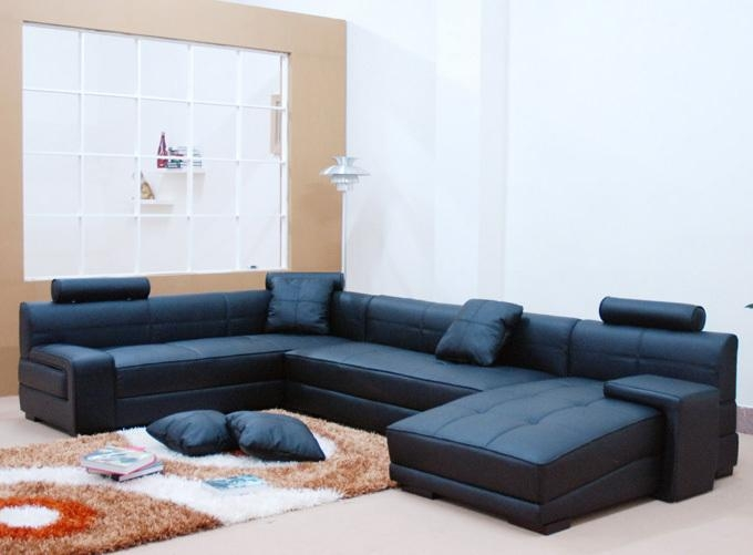 Captivating Blue Leather Sectional Sofa Divani Casa Arcola Modern In Blue Leather Sectional Sofas (View 20 of 20)