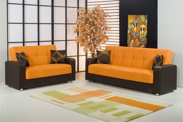 Carol Orange Microfiber Sofa Bedkilim With Regard To Microsuede Sofa Beds (Image 4 of 20)