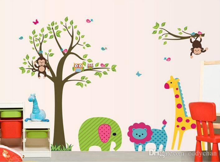 Cartoon Animals Tree Stickers Children Room Decoration Preschool Pertaining To Preschool Classroom Wall Decals (Image 10 of 20)