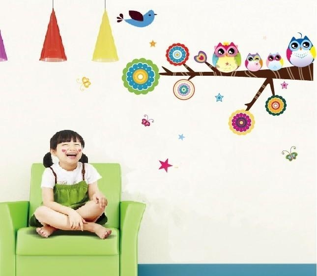 Cartoon Colorful Owl Family Baby Room Wall Decal Within Owl Wall Art Stickers (View 20 of 20)