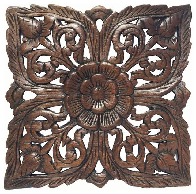 Carved Wood Wall Plaquerustic Wood Wall Decor Asian Wall Art Decor Within Wooden Wall Art Panels (View 7 of 20)