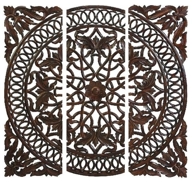 Carved Wooden Medallion Wall Panels, Set Of 3 – Mediterranean Inside Wooden Wall Art Panels (View 14 of 20)