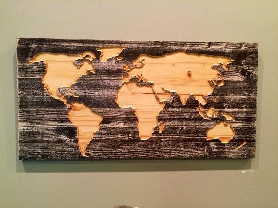 Carved Wooden World Map Wall Art World Map Home Decor World With Regard To World Map Wood Wall Art (Image 12 of 20)