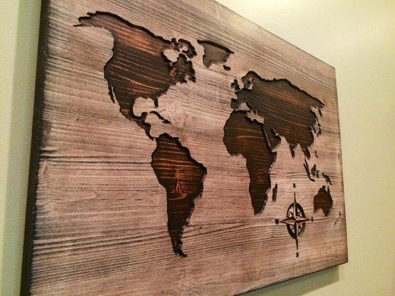 Carved Wooden World Map Wood Wall Art World Map Home Decor Inside World Map Wood Wall Art (Image 13 of 20)