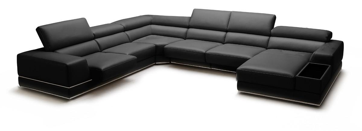 Casa Chrysanthemum Modern Black Leather Sectional Sofa Throughout Black Modern Sectional Sofas (Image 10 of 20)