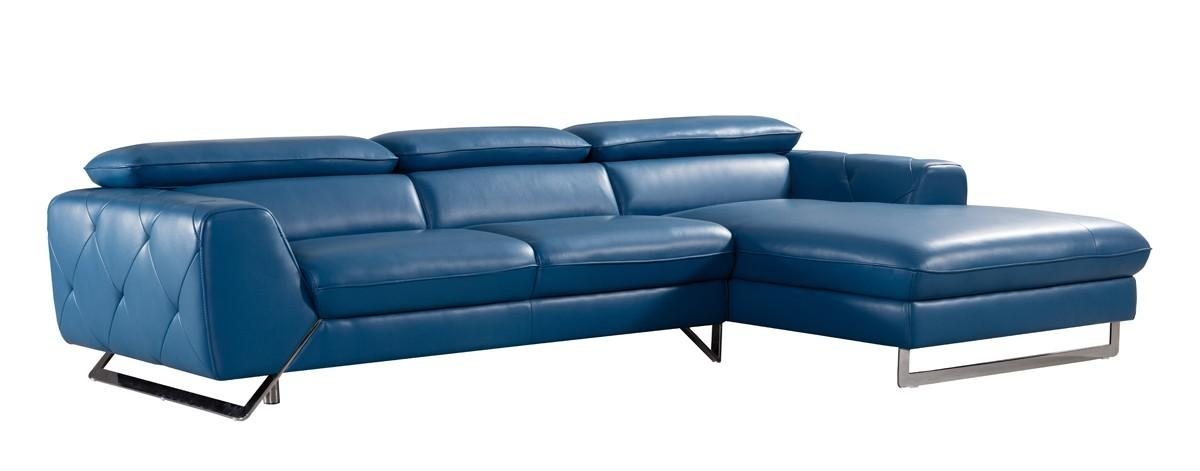 Casa Devon Modern Blue Leather Sectional Sofa Pertaining To Blue Leather Sectional Sofas (Image 9 of 20)