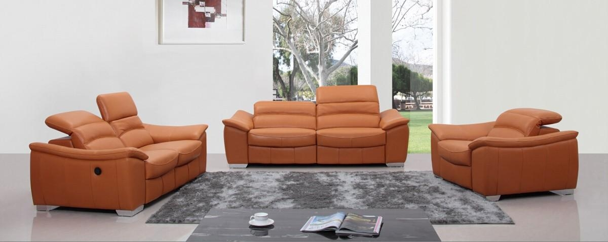 Casa E9034 Modern Orange Italian Leather Sofa Set W/ Recliners For Italian Recliner Sofas (View 4 of 20)