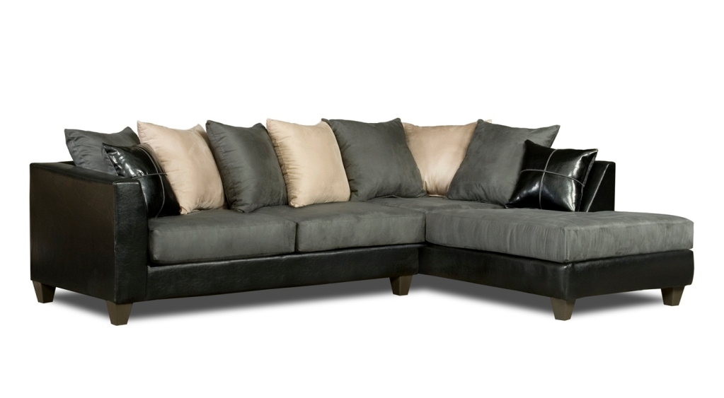 Casual Black & Gray Microfiber Sectional Sofa W/chaise Loose With Regard To Loose Pillow Back Sofas (Image 2 of 20)