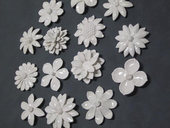 Ceramic Flower Wall Art Custom Order Wedding Gift Wall Within Ceramic Flower Wall Art (Image 13 of 20)