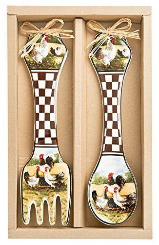 Ceramic Rooster Design Wall Spoon And Fork Set French Country Wall Within French Country Wall Art (Image 8 of 20)