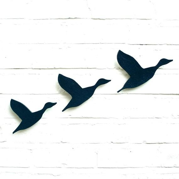 Ceramic Wall Art Flying Ducks Flock In Navy Blue Pottery Bird Regarding Ceramic Bird Wall Art (Image 12 of 20)
