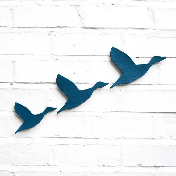 Ceramic Wall Art Flying Ducks In Teal Blue Set Of 3 Inside Ceramic Bird Wall Art (View 8 of 20)