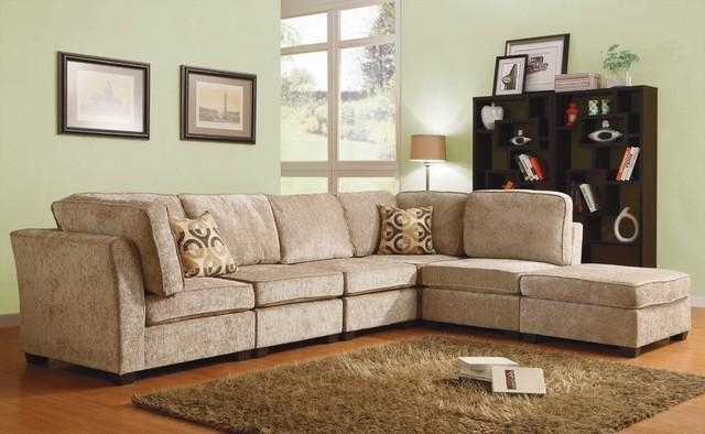 Chenille Sectional Sofa | Teabiz Pertaining To Chenille Sectional Sofas (Image 4 of 20)