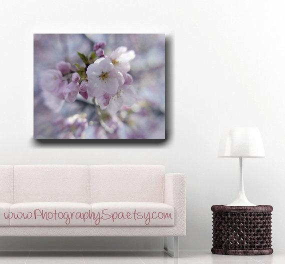 Cherry Blossom Canvas Wall Art | Blue Lavender Shabby Chic Canvas For Shabby Chic Canvas Wall Art (View 5 of 20)