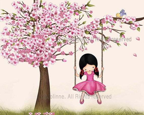 Cherry Blossom Wall Art Print Girls Room Decor Nursery Wall In Wall Art For Girls (Image 10 of 20)
