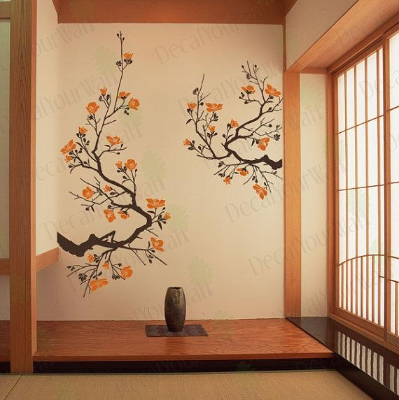 Cherry Blossom Wall Decal Large Tree Branch Japanese Wall Art In Tree Branch Wall Art (Image 11 of 20)