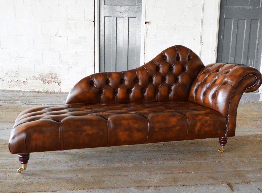 Chesterfield Chaise Longue / Leather / Indoor / On Casters Pertaining To Casters Sofas (Image 6 of 20)